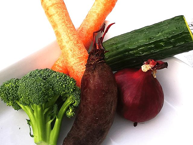seks stykker grøntsager
